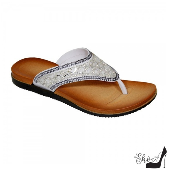 THE BABE COLLECTION Shoes - Dana White Jeweled Thong Flip Flops